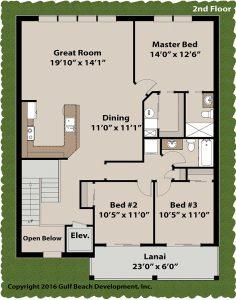 Bella Bay elevated home plan 2nd floor