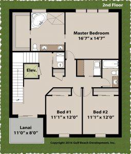 Dolphin Bay Coastal House Plan 2nd floor