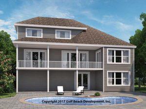Grand Island Coastal House Plan Rear